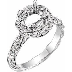 14K White 7 mm Round 1/2 CTW Diamond Semi-Set Engagement Ring Size 6