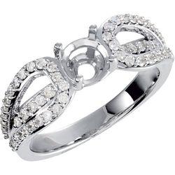 14K White 6.5 mm Round 1/2 CTW Diamond Semi-Set Engagement Ring