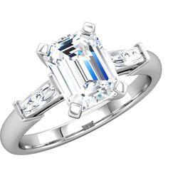 14K White 7x5 mm Emerald 1/4 CTW Diamond Semi-Set Engagement Ring