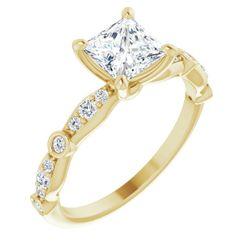 14K Yellow 5.5x5.5 mm Square 1/5 CTW Diamond Semi-Set Engagement Ring Mounting