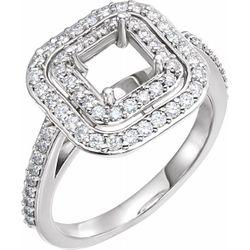 14K White 4.5 mm Square 1/2 CTW Diamond Semi-Set Engagement Ring