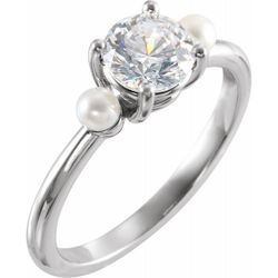 Platinum 5.2 mm Round Pearl Semi-Set Engagement Ring