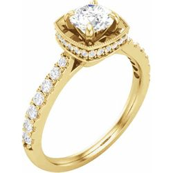 14K Yellow 5.2 mm Round 3/8 CTW Diamond Semi-Set Engagement Ring