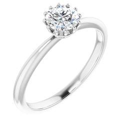 Platinum 5.2 mm Round .04 CTW Diamond Semi-Set Engagement Ring