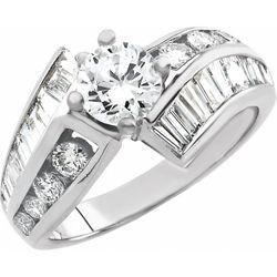 14K White 6 mm Round 1 1/4 CTW Diamond Semi-Set Engagement Ring