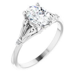 14K White 8x6 mm Oval .0075 CTW Diamond Semi-Set Engagement Ring