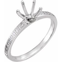 14K White 6.5 mm Round 1/5 CTW Diamond Semi-Set Engagement Ring