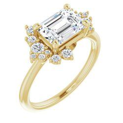 14K Yellow 8x6 mm Emerald 1/4 CTW Diamond Semi-Set Engagement Ring