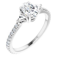 14K White 7x5 mm Oval 3/8 CTW Diamond Semi-Set French-Set Engagement Ring