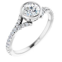 Platinum 5.8 mm Round 1/4 CTW Diamond Semi-Set Bezel-set Engagement Ring