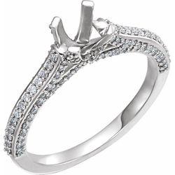 14K White 5.8 mm Round 1/2 CTW Diamond Semi-Set Engagement Ring