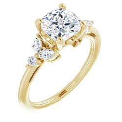 14K Yellow 7 mm Cushion 1/4 CTW Diamond Semi-Set Engagement Ring