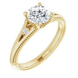 14K Yellow 5.2 mm Round .04 CTW Diamond Semi-Set Engagement Ring