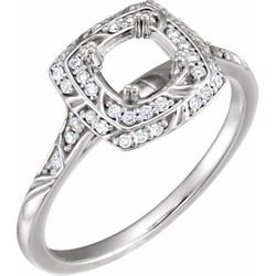 Platinum 5.8 mm Round 1/5 CTW Diamond Semi-set Engagement Ring