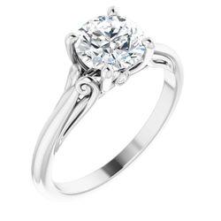 14K White 7 mm Round .02 CTW Diamond Semi-Set Engagement Ring