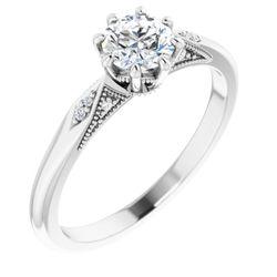 14K White 5.2 mm Round .03 CTW Diamond Semi-Set 8-Prong Engagement Ring