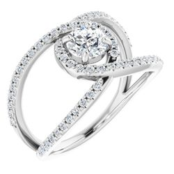 14K White 5.2 mm Round 1/3 CTW Diamond Semi-Set Engagement Ring