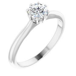 14K White 5.2 mm Round .02 CTW Diamond Semi-Set 8-Prong Engagement Ring