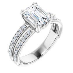 14K White 8x6 mm Emerald 1/3 CTW Diamond Semi-Set Engagement Ring