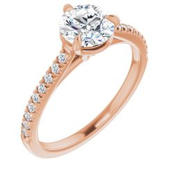 14K Rose 6.5 mm Round 1/6 CTW Diamond Semi-Set French-Set Claw-Prong Engagement Ring Mounting