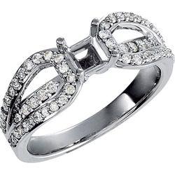 14K White 4.5 mm Round 1/2 CTW Diamond Semi-Set Engagement Ring