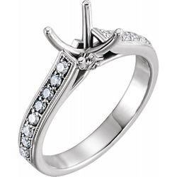 14K White 5.5x5.5 mm Square 3/8 CTW Diamond Semi-Set Engagement Ring