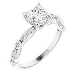 18K White 5.5x5.5 mm Square 1/5 CTW Diamond Semi-Set Engagement Ring Mounting