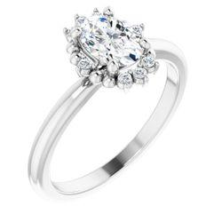 Platinum 7x5 mm Oval .07 CTW Diamond Semi-Set Engagement Ring