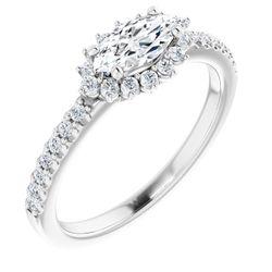 Platinum 8x4 mm Marquise 1/4 CTW Diamond Semi-Set Engagement Ring