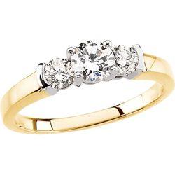 14K Yellow 3/8 CTW Diamond Semi-Set Three-Stone Engagement Ring Mounting