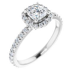 14K White 5x5 mm Cushion 1/3 CTW Diamond Semi-Set Engagement Ring