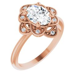 14K Rose 8x6 mm Oval .05 CTW Diamond Semi-Set Engagement Ring
