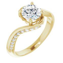 14K Yellow 6.5 mm Round 1/5 CTW Diamond Semi-Set Engagement Ring