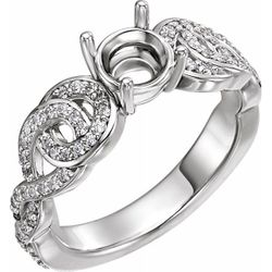 Platinum 6.5 mm Round 1/3 CTW Diamond Semi-Set Engagement Ring