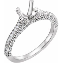 14K White 5.5 mm Square 1/2 CTW Diamond Semi-Set Engagement Ring