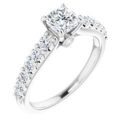 14K White 5x5 mm Cushion 1/2 CTW Diamond Semi-Set Engagement Ring