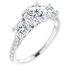 14K White 7 mm Round 1 1/6 CTW Diamond Semi-Set Engagement Ring