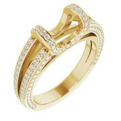 14K Yellow 6.5 mm Round 3/4 CTW Diamond Semi-Set Engagement Ring