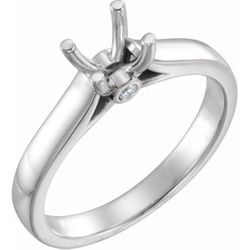 14K White 5.2 mm Round .04 CTW Diamond Semi-Set Engagement Ring
