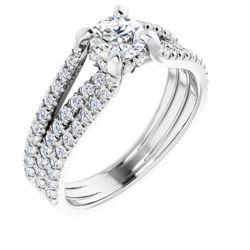 14K White 5.2 mm Round 1/2 CTW Diamond Semi-Set Engagement Ring