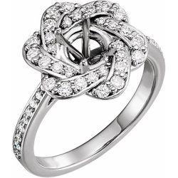 Platinum 6.5 mm Round 1/2 CTW Diamond Semi-Set Halo-Style Engagement Ring