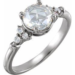 14K White 6 mm Round 1/6 CTW Diamond Semi-Set Rose-Cut Engagement Ring