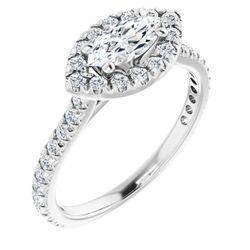 14K White 8x4 mm Marquise 1/2 CTW Diamond Semi-Set Engagement Ring