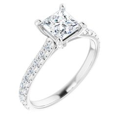 14K White 5.5 mm Square 3/8 CTW Diamond Semi-Set Engagement Ring