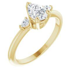 14K Yellow 7x5 mm Pear 1/10 CTW Diamond Semi-Set Engagement Ring