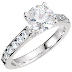 18K White 1/2 CTW Diamond Shank for Peg Setting