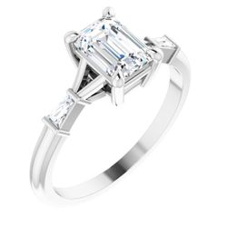 Platinum 7x5 mm Emerald .08 CTW Diamond Semi-Set Engagement Ring