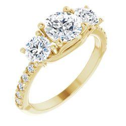 14K Yellow 6.5 mm Round 9/10 CTW Diamond Semi-Set French-Set Engagement Ring