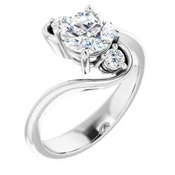 14K White 6.5 mm Round 1/8 CTW Diamond Semi-Set Engagement Ring