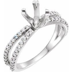 14K White 6.5 mm Round 3/8 CTW Diamond Semi-Set Engagement Ring